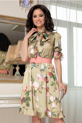 Rochie Irma vernil cu imprimeu floral si curea in talie