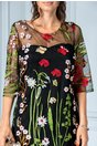 Rochie Isabel neagra de ocazie cu broderii florale colorate