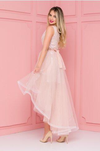 Rochie Isabel roz prafuit din tull cu pliuri la bust si cordon in talie