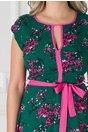 Rochie Isabel verde cu floricele roz si cordon in talie