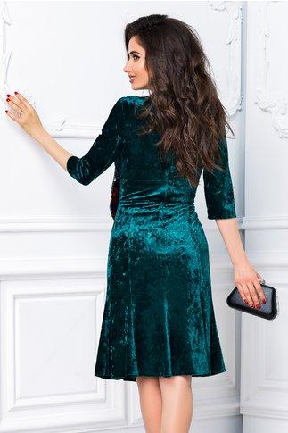 Rochie Isabel verde din catifea cu funda
