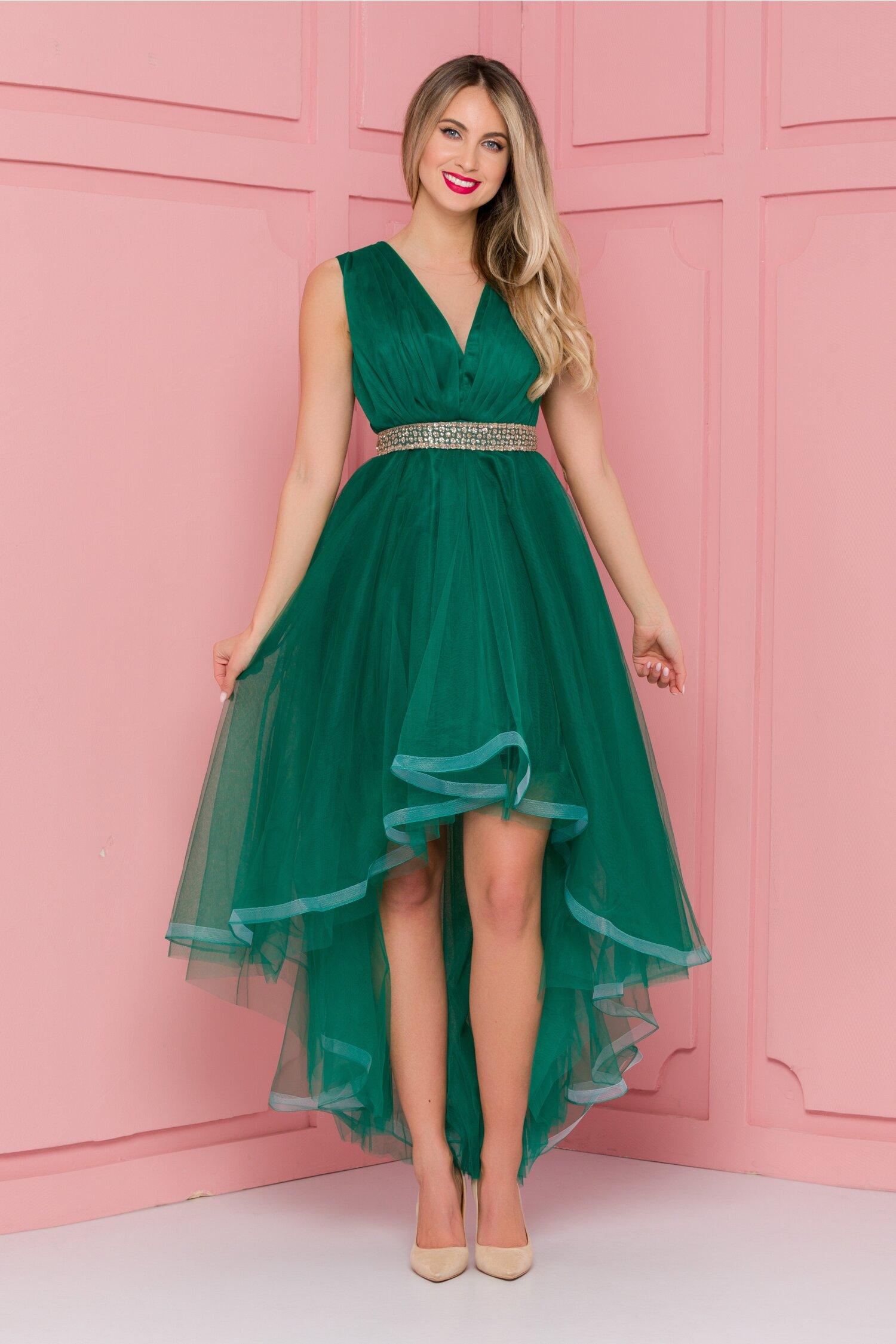 Rochie Isabel verde din tull cu pliuri la bust si cordon in talie
