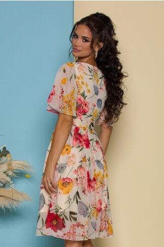 Rochie Isabela alba cu flori colorate