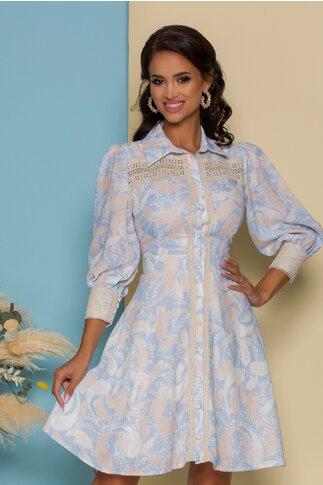 Rochie Isabela bleu cu imprimeuri bej