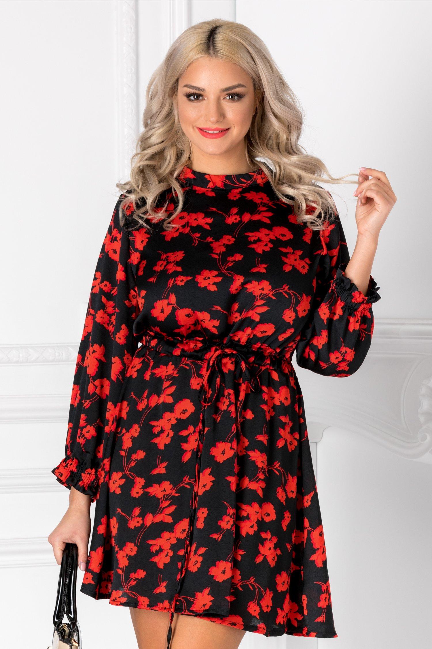 Rochie Isabela neagra cu flori rosii