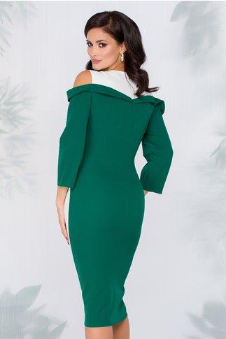 Rochie Isabela verde cu decupaj la umeri si perlute in talie