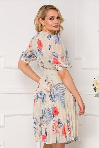 Rochie Isabella bej cu imprimeu bleu-corai si fusta plisata