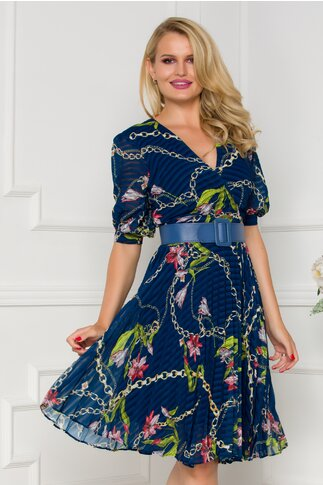 Rochie Isabella bleumarin cu imprimeu divers chain si floral si fusta plisata