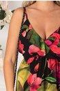 Rochie Isabella neagra cu flori mari fucsia