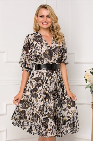 Rochie Isabella neagra cu imprimeu tropical si fusta plisata