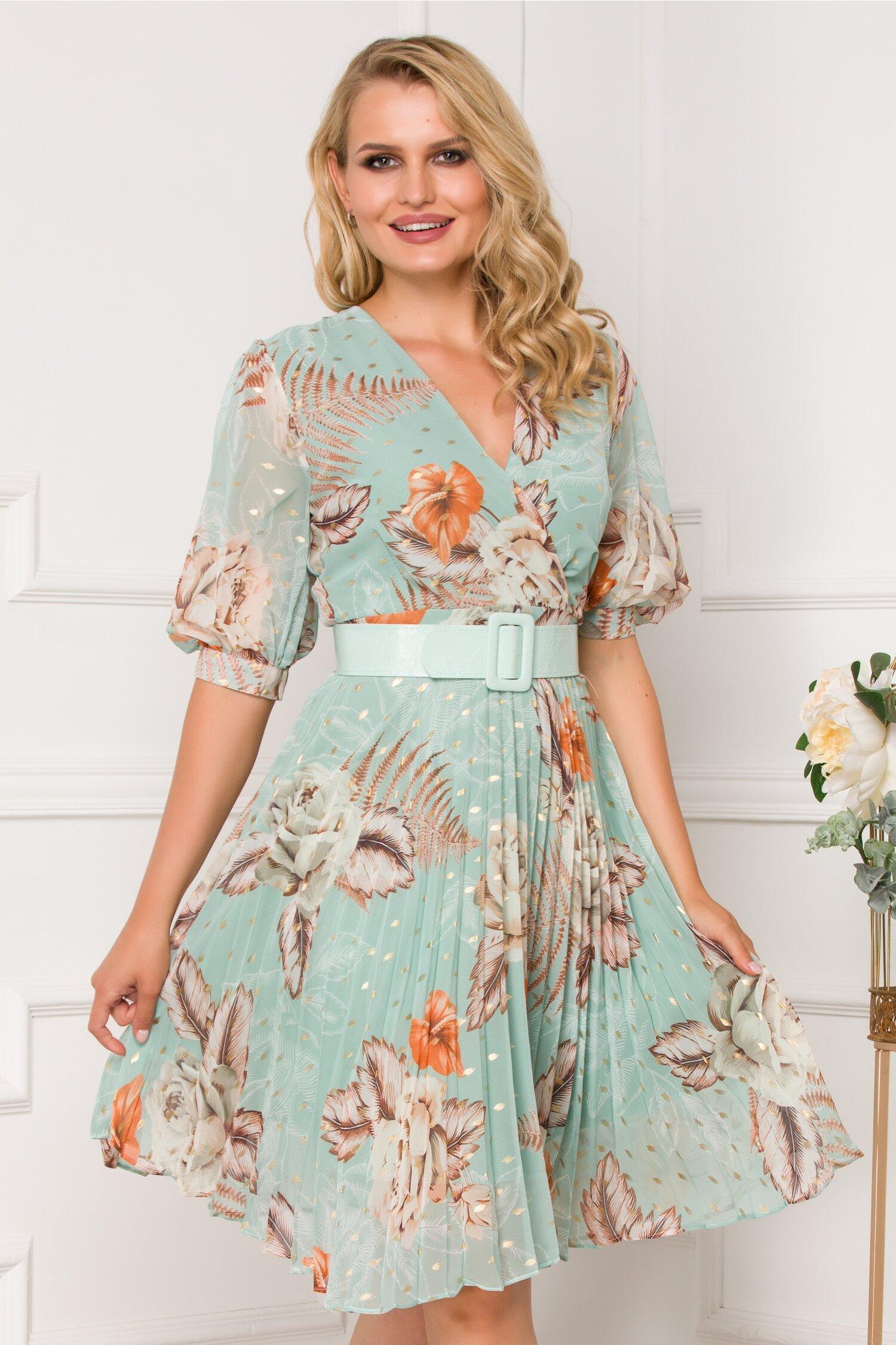 Rochie Isabella verde mint cu imprimeu floral si fusta plisata