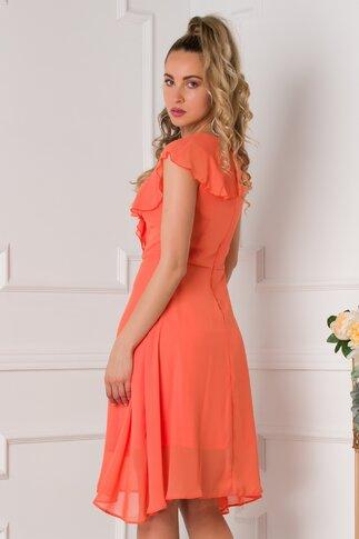 Rochie Isara orange cu volanase la bust