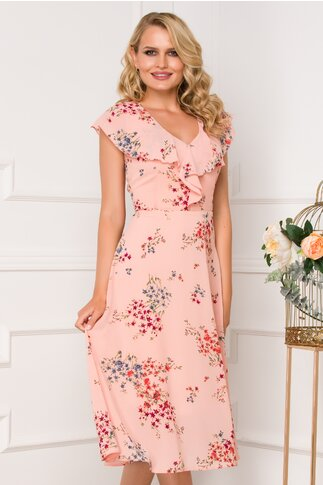 Rochie Isara roz somon cu imprimeu floral si volanase la bust