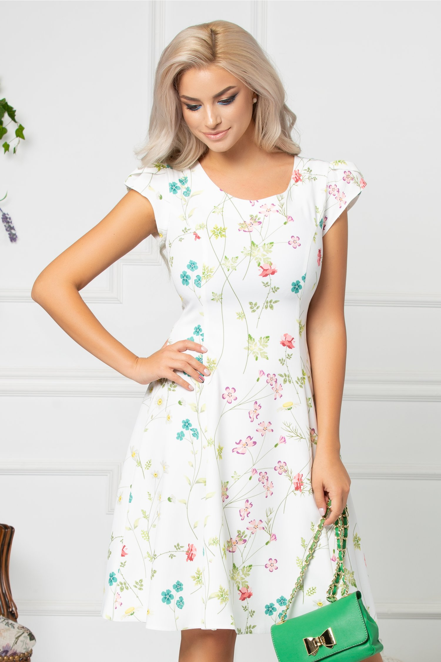 Rochie Isolde ivory cu floricele colorate