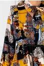Rochie Issa galbena cu imprimeuri si volane plisate la bust