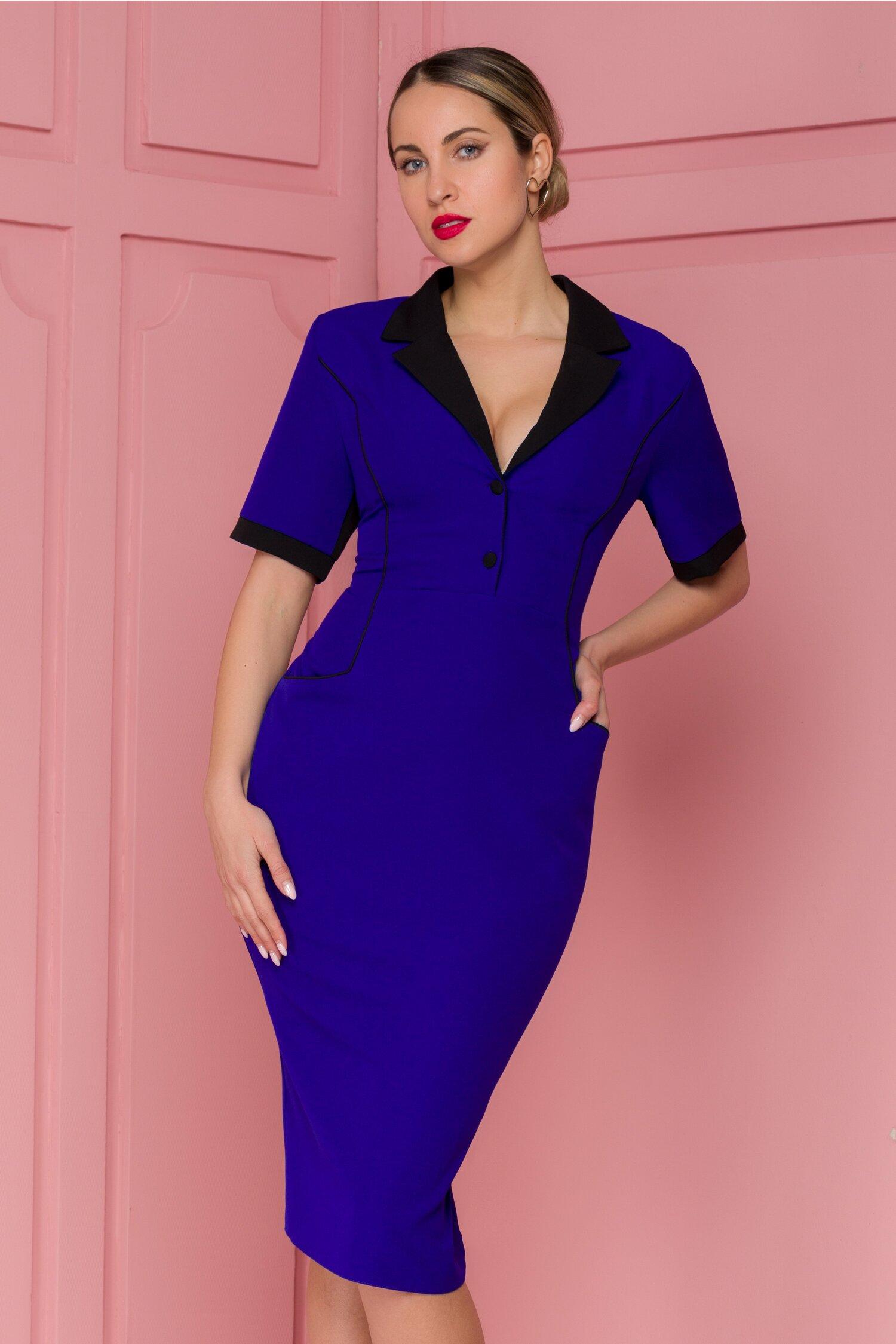 Rochie Iulia albastra cu detalii negre