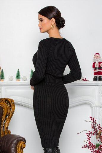 Rochie Iuliana neagra din tricot reiat
