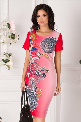 Rochie Iuliana rosie in degradee cu imprimeuri tip mandala