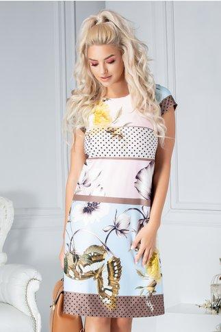 Rochie Ives in culori pastelate si imprimeu divers