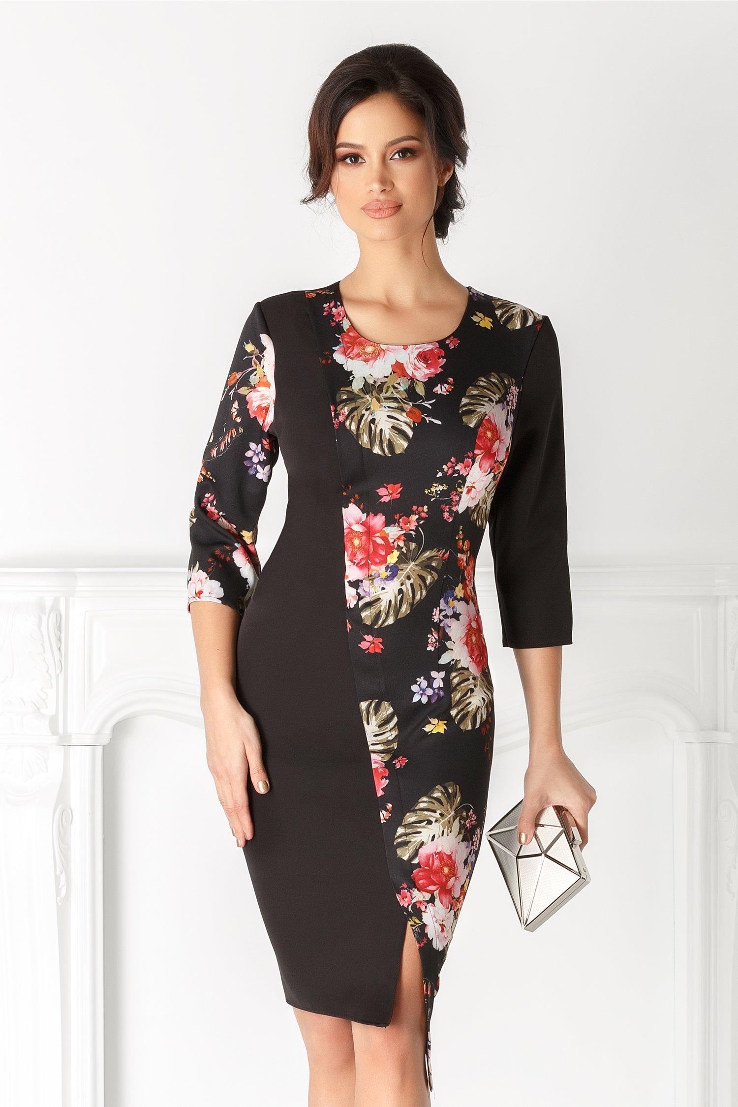 Rochie Ivone neagra cu imprimeu floral colorat