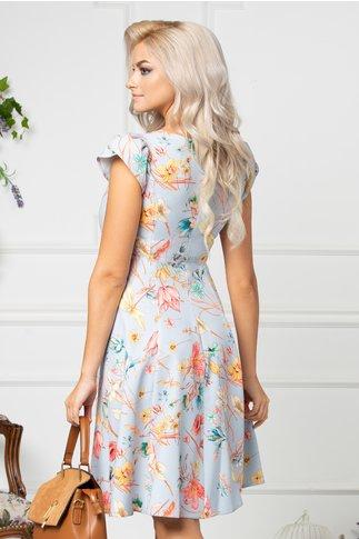 Rochie Ivonna bleu de vara cu detalii florale colorate