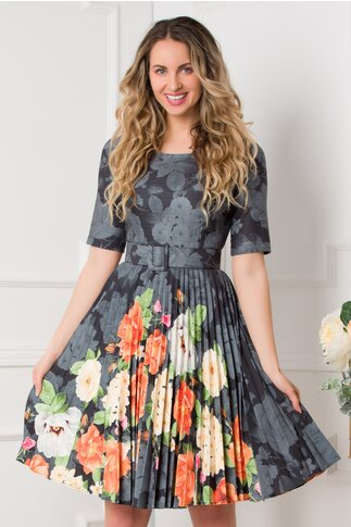 Rochie Ivonne antracit cu fusta plisata si imprimeu floral