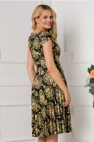 Rochie Ivonne neagra cu maneci scurte si imprimeu floral mic