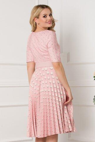 Rochie Ivonne roz cu fusta plisata si imprimeu cu buline