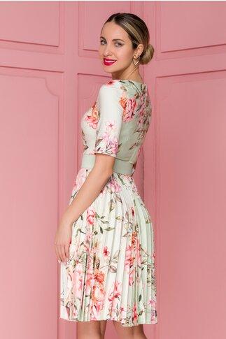 Rochie Ivonne vernil cu fusta plisata si imprimeu floral