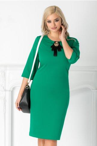 Rochie Iza conica verde deschis cu brosa detasabila