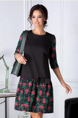 Rochie Iza neagra cu imprimeuri florale