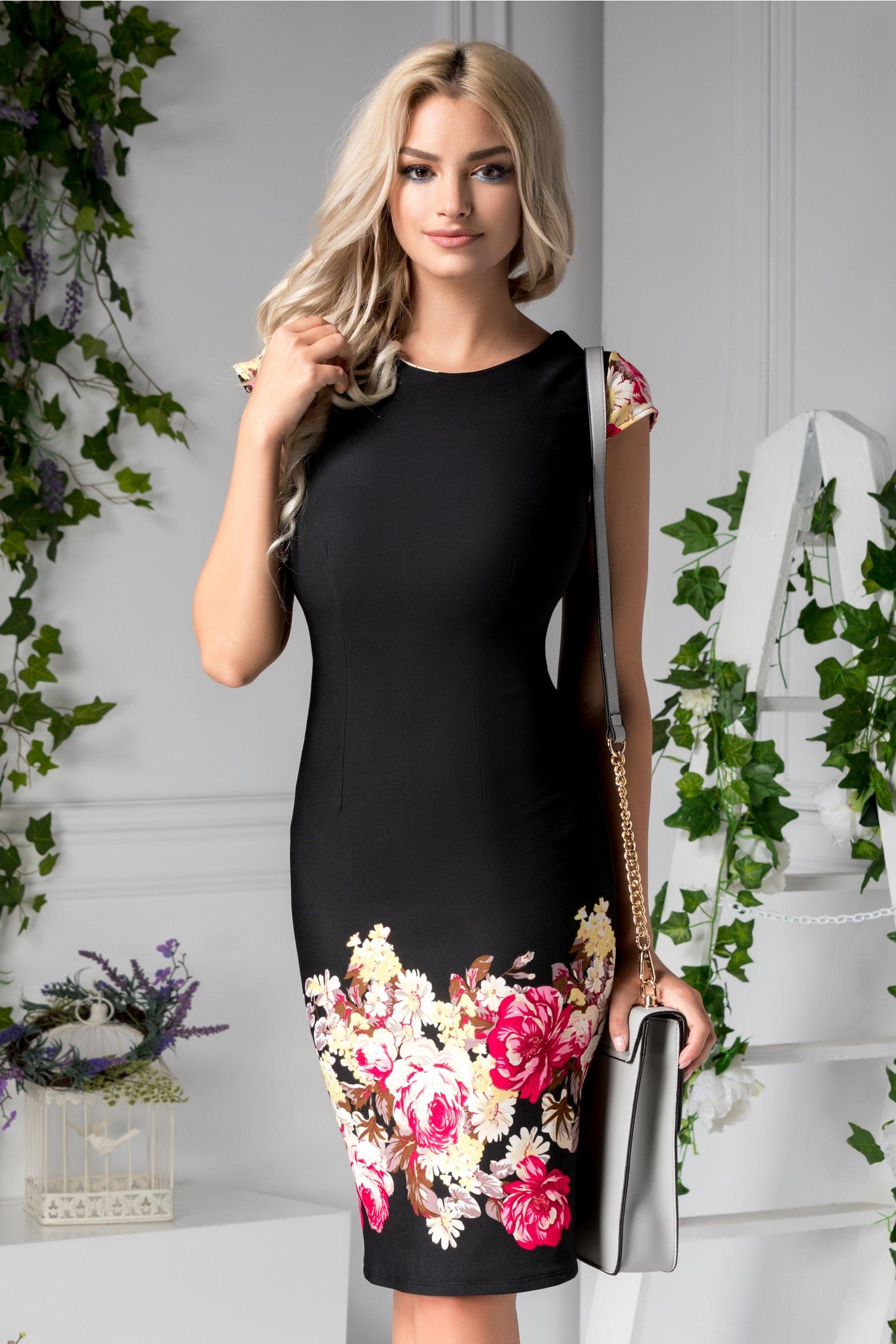 Rochie Jacqueline midi de zi neagra cu flori colorate