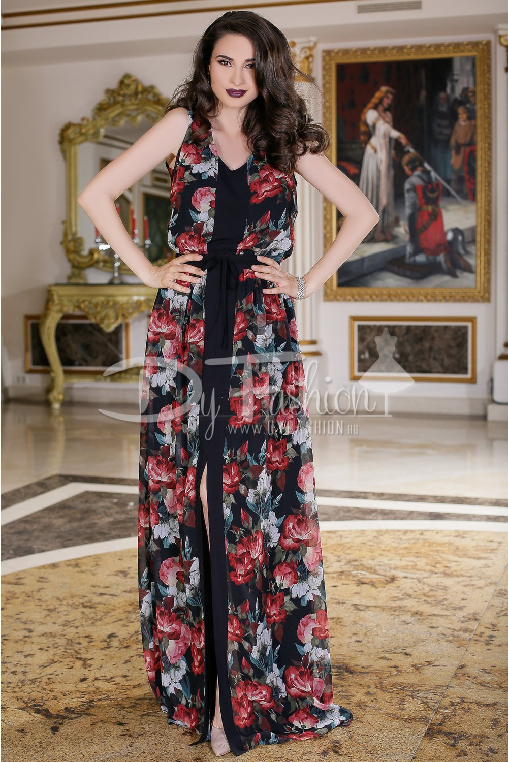 Rochie Jamila Lunga Din Voal Floral