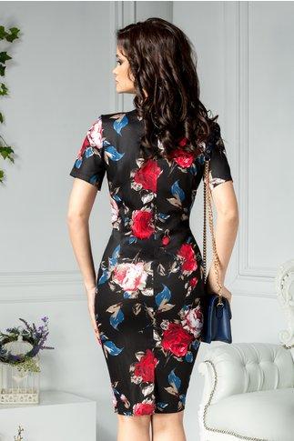 Rochie Janet cu trandafiri si accesoriu la guler