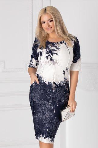 Rochie Janet ivoire cu imprimeu floral bleumarin