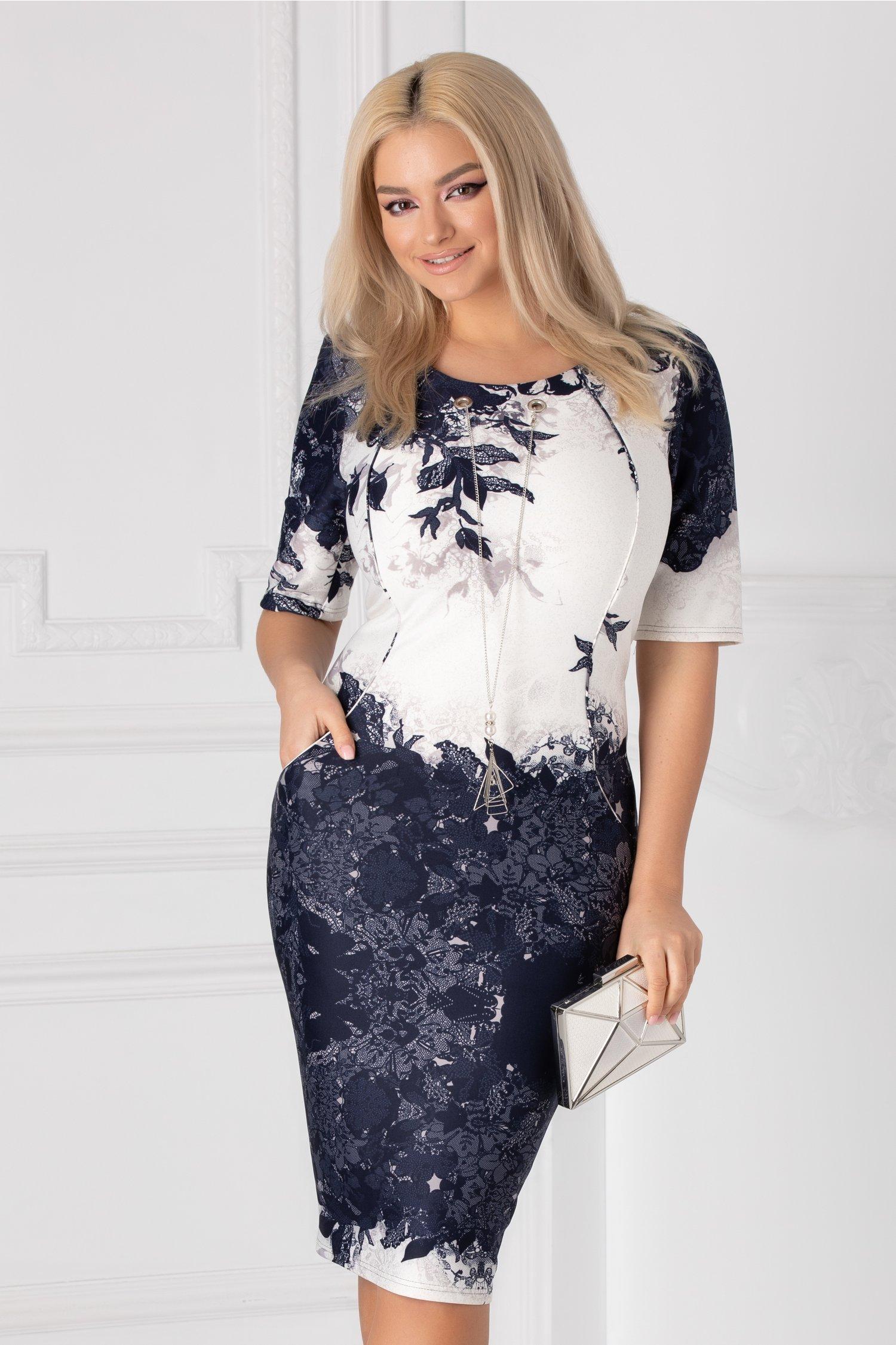 Rochie Janet bleumarin cu imprimeu floral blemarin