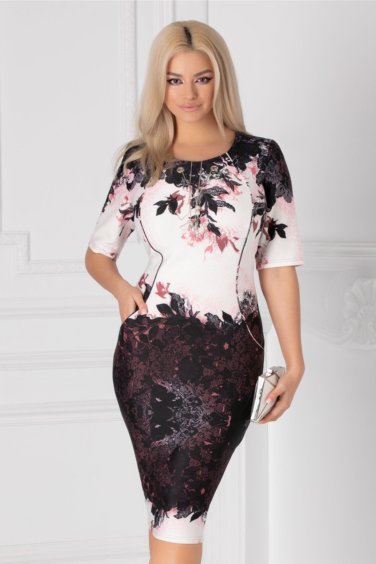 Rochie Janet bleumarin cu imprimeu floral negru-roz