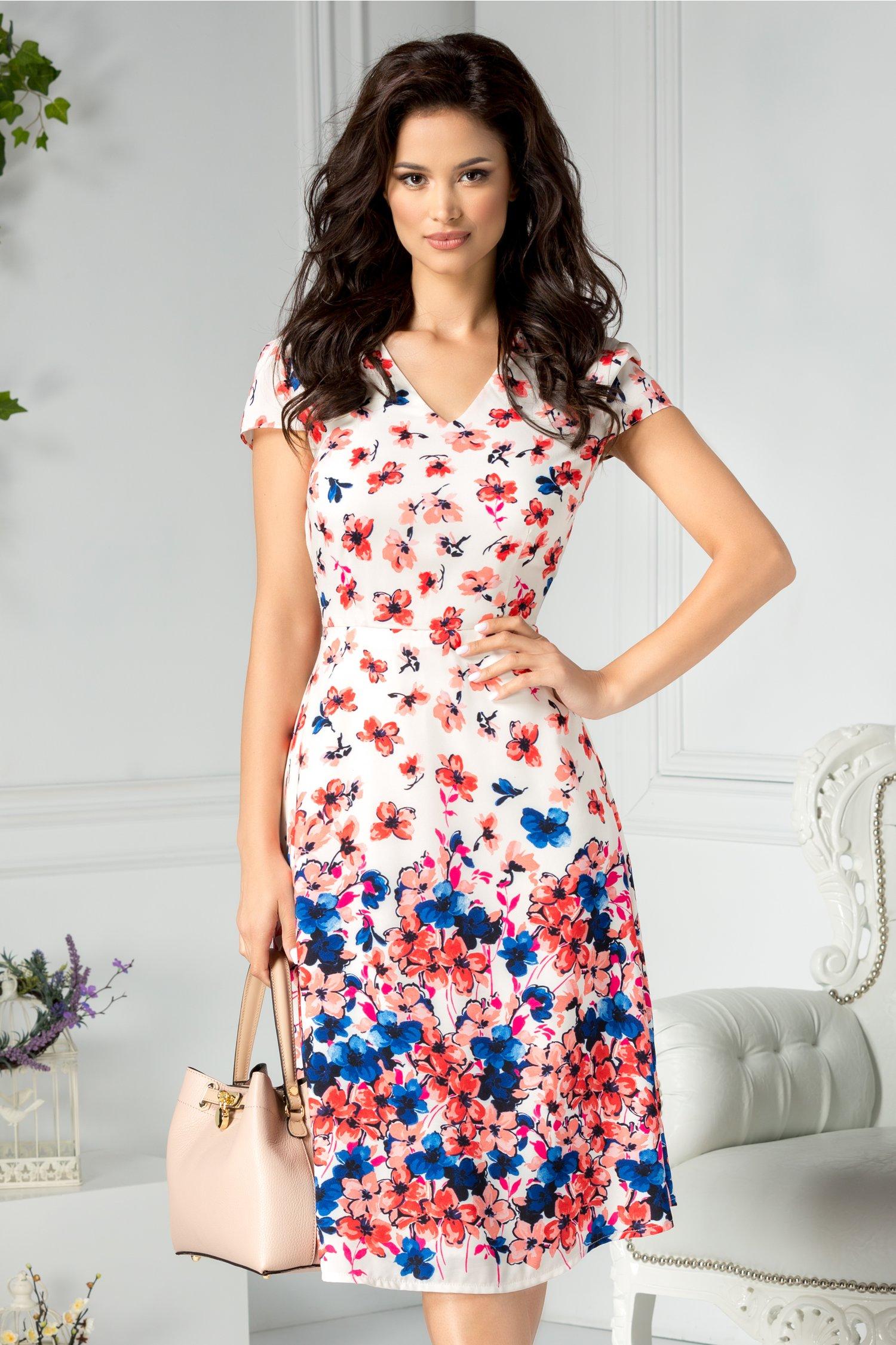 Rochie Janice midi alba cu floricele colorate