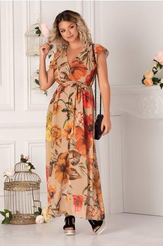 Rochie Jannine bej cu imprimeuri florale caramizii