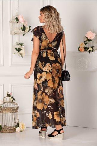 Rochie Jannine neagra cu imprimeuri florale bej