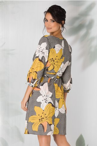 Rochie Jasmine cu imprimeu picior de cocos si crini maxi