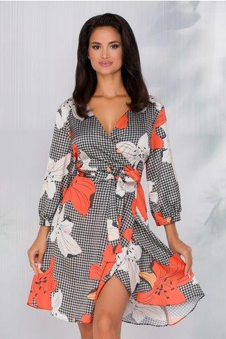 Rochie Jasmine cu imprimeu picior de cocos si crini maxi in nuante de orange