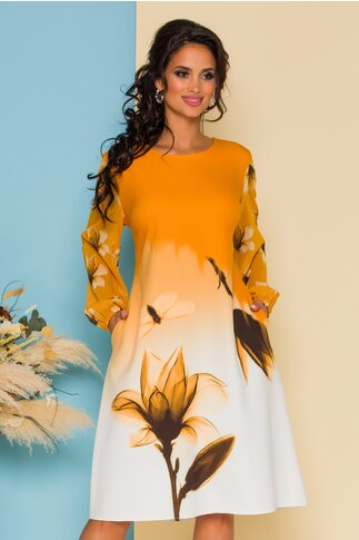 Rochie Jasmine galben in degrade cu imprimeu maxi