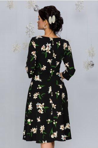 Rochie Jasmine neagra cu imprimeu floral ivoire