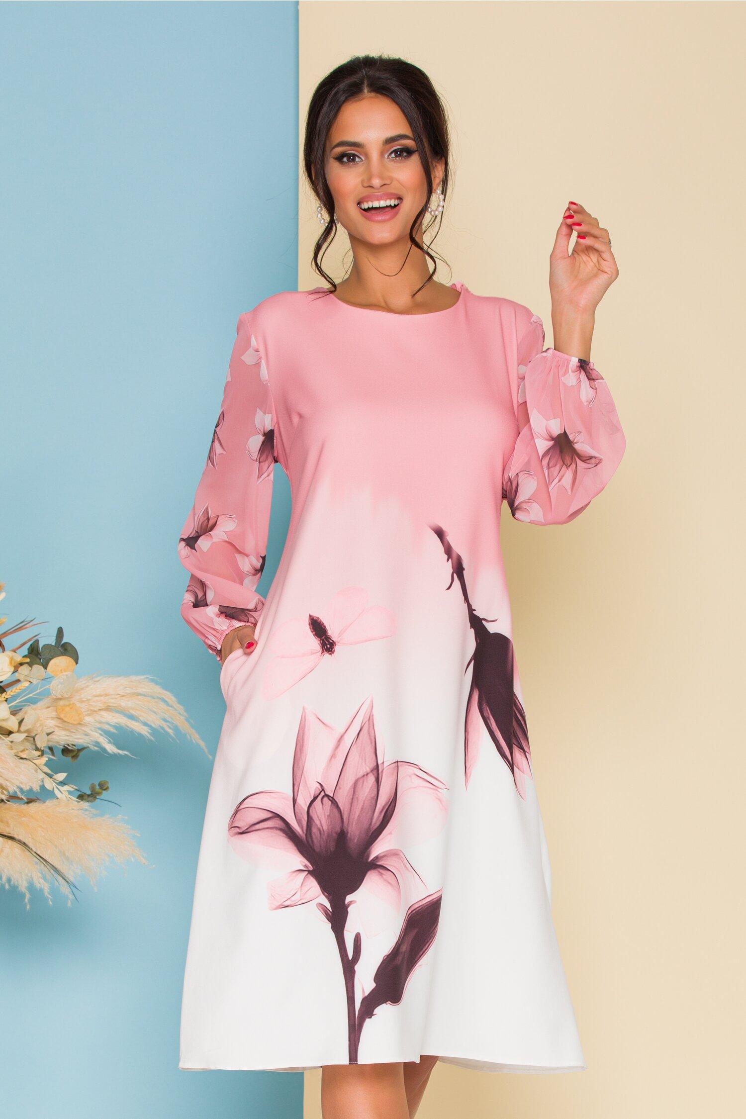 Rochie Jasmine roz in degrade cu imprimeu maxi