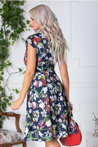 Rochie Jennifer bleumarin de vara cu flori colorate