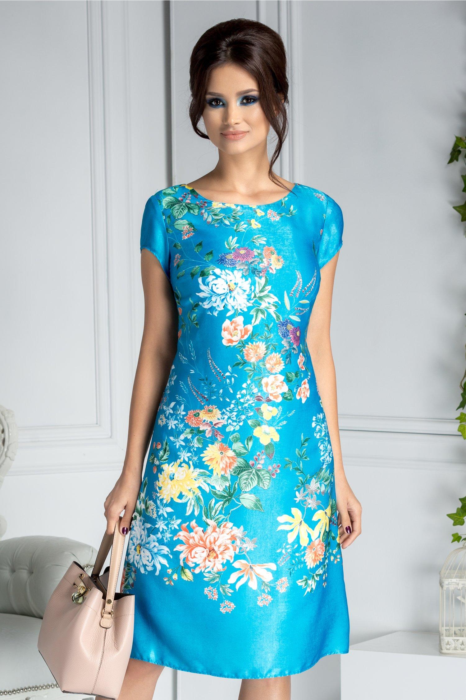 Rochie Jessie bleu cu imprimeu floral
