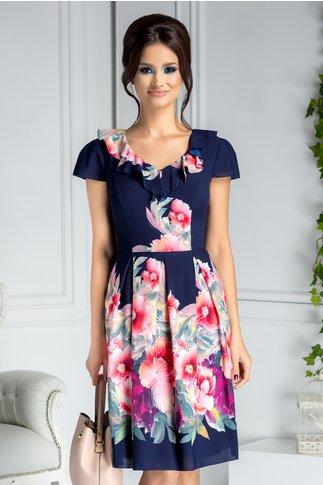 Rochie Jolie bleumarin clos cu flori roz