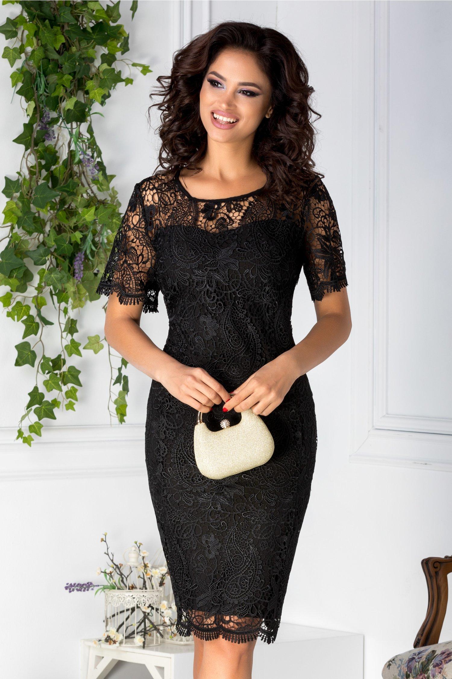 Rochie Jovaka neagra conica din dantela