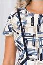 Rochie Judy alba cu imprimeu geometric albastru
